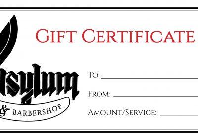 Asylum Tattoo & Barbershop - Gift Certificates