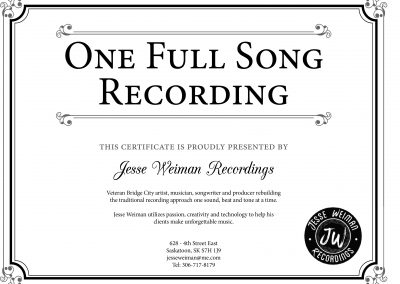 Jesse Weiman Recordings - Certificate