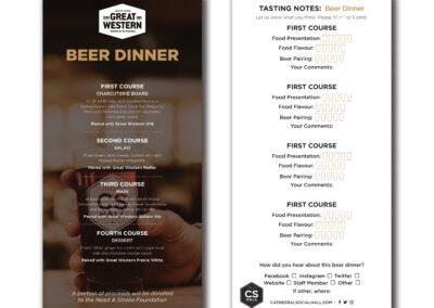Cathedral Social Hall Beer Dinner Menu